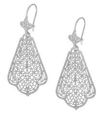 filigree earrings edwardian scalloped leaf dangling sterling silver filigree