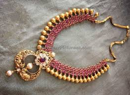 long gold beads necklace images Ruby gold beads necklace jewellery designs jpg