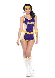 Girls Cheerleader Halloween Costume Licensed Nba Los Angeles La Lakers Basketball Cheerleader
