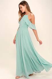 chiffon maxi dress lovely mint blue dress the shoulder maxi chiffon maxi 84 00