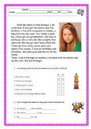 reading comprehension test worksheet family physical description