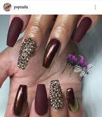 burgundy nails chrome and matte with gold rhinestones nails