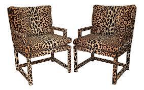 Modern Furniture Washington Il by Milo Baughman Style Vintage Leopard Parsons Chairs A Pair Chairish