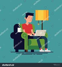 Work From Home Graphic Design Young Man Working Home Vector Stock Vector 404191639