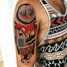 geometric owl by shawn dougherty of good graces tattoo in