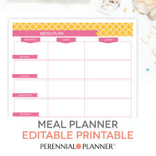 lunch box planner template menu plan weekly meal planning template printable editable