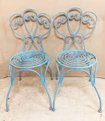 Iron Bistro Chairs Pair Of Vintage Light Blue Wrought Iron Bistro Chairs 95 Buy
