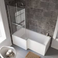 1675 mm left hand l shaped straight shower bath with glass shower