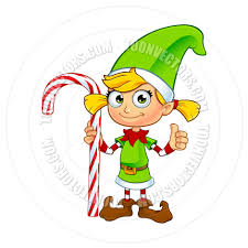 cartoon christmas elf character in green holding candy cane