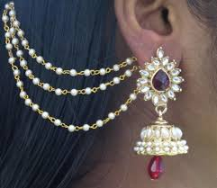 jhumka earrings with chain buy maroon drop jhumka with pearl ear chain earring online