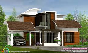 contemporary style home contemporary style semi curved roof mix home kerala home design