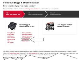 briggs and stratton engines u2013 operator and parts manuals