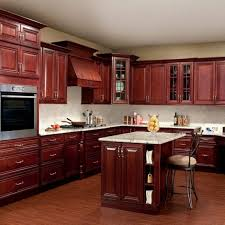 Red Mahogany Kitchen Cabinets Stained Kitchen Cabinets Standard Eased Edge White Granite