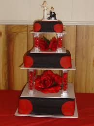 wedding design red and black square wedding cakes