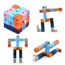 diy wooden assemble cube robot beech robot kids adults brain