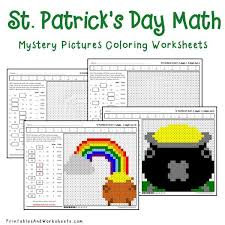 st patrick u0027s day math mystery pictures coloring worksheets bundle