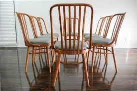 set of 8 ligna drevounia dining chairs bentwood mid century