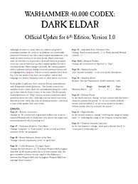 codex dark eldar faq 6th edition