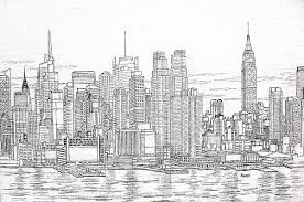 new york city manhattan skyline drawing by mike rabe