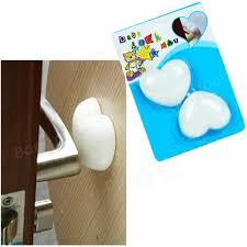 Bathtub Bumper Pads 2 Pcs Baby Safety Door Handle Pad Cushion Wall Protection Heart