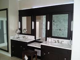 bathroom mirror ideas on wall rectangle brown granite top light