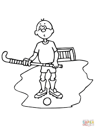 boy with field hockey stick and ball coloring page free