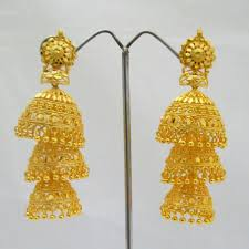 gold jhumka earrings three layer gold plated jhumka earrings indian wedding jewelry