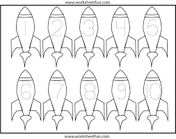 free printable number coloring pages rockets number tracing space preschool theme pinterest