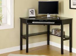Small Wooden Computer Desks Furniture Black Painted Wood L Shape Small Corner