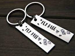 graduation keychain fly free keychain sted flying bird inspiration message custom gift