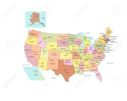 Us Map With Alaska by Usa Map With States Names And Capitals Royalty Free Cliparts