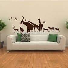 online get cheap giraffe wall murals aliexpress com alibaba group animal kingdom skyline elephant giraffe wall art sticker decal home diy decoration wall mural removable room