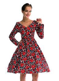 women u0027s vintage long sleeved v neck floral print 1940 u0027s 50 u0027s retro