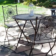 Iron Bistro Table Set Patio Furniture Set Of Foldinghairs Sling Bistro Outdoor Patio