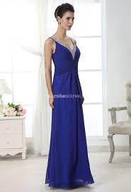robe mariage bleu robe soirée mousseline bleu bretelles et décolleté sequins