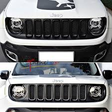 white jeep renegade 2017 7pc carbon fiber style front grille frame trim cover for 2015 2017