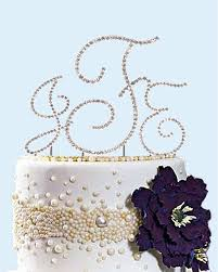 cake monograms swarovski crystals monogram cake topper with silver initial