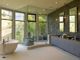 decor modern bathroom with freestanding tub and united tile