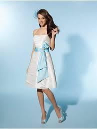 Wedding Dresses Light Blue White Short Wedding Dress With Light Blue Sash Mybridaldress