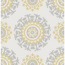 wallpops 30 75 sq ft grey and yellow suzani peel and stick