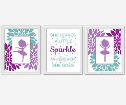 Ballerina Nursery Decor Baby Nursery Wall Purple Teal She Leaves A Sparkle