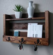 rustic entryway 3 hanger hook coat rack with shelf and by keodecor