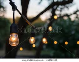 Outdoor Lantern String Lights by Decorative Outdoor String Lights Hanging On Stock Photo 436971544