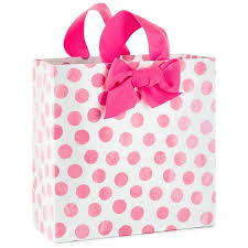 pink gift bags pink dots large square gift bag 10 25 gift bags hallmark