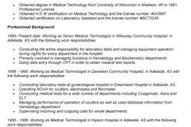 Sample Resume For Medical Laboratory Technician by Medical Laboratory Technician Resume Samples Medical Lab