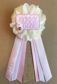 pink rustic baby shower pin mommy to be pin ribbon pin corsage