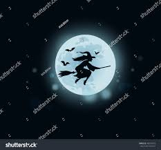 halloween witch flying on broomstick stock illustration 498139675