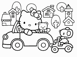 coloring dazzling coloring book kitty driving car