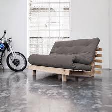 futon canapé karup canapé convertible roots 140 cm bois brut futon gris