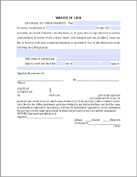 waiver of lien template waiver of lien certificate template free fillable pdf forms
